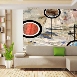 Mural: A background that has definitive shapes like the cave murals of yore.