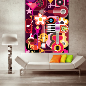 Music Collage: Collection of instruments, on a single canvas.