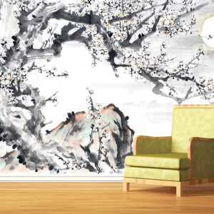 Wall murals wallpaper wall decor decals custom murals for Asian mural wallpaper